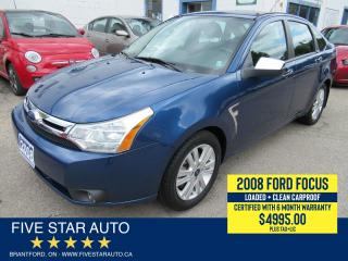 Used 2008 Ford Focus SES *Clean Carproof* Certified w/ 6 Month Warranty for sale in Brantford, ON