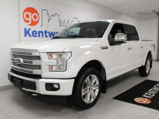 Used 2017 Ford F-150 Platinum FX4 Off Road Pkg with keyless entry, power heated/cooling leather seats, push start/stop, back up cam, and NAV for sale in Edmonton, AB