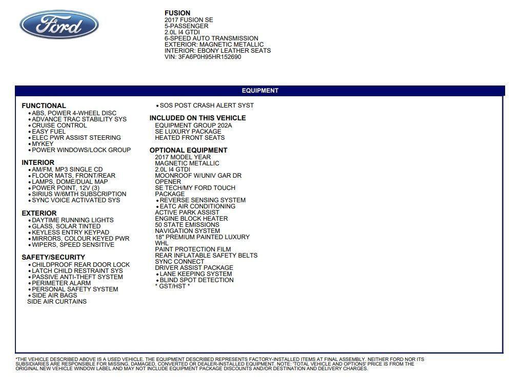 Used 2017 Ford Fusion SE 2 0T+GPS+Camera+Blind Spot+Lane