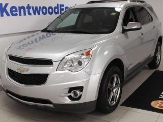 Used 2013 Chevrolet Equinox LTZ AWD with power heated leather seats, back up cam, and NAV for sale in Edmonton, AB