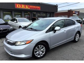 Used 2012 Honda Civic AUTOMATIQUE-AIR CLIMATISE-BLUETOOTH-GR ELECTRIQUE for sale in Laval, QC