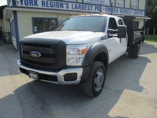 Used 2015 Ford F-550 WORK READY SUPER DUTY MODEL 6 PASSENGER 6.7L - B-20 DIESEL.. 4X4.. CREW.. FLAT-DECK BOX.. TRAILER BRAKE.. CD/AUX/USB INPUT.. SYNC TECHNOLOGY.. for sale in Bradford, ON