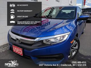 Used 2018 Honda Civic LX NO ACCIDENTS, FACTORY WARRANTY, GREAT ON GAS, LOCAL TRADE, 2 SETS OF KEYS - $123 BI-WEEKLY - $0 DOWN for sale in Cranbrook, BC