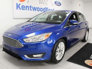 Used 2018 Ford Focus Titanium FWD hatchback with NAV, sunroof, heated power leather seats, heated steering wheel, back up cam for sale in Edmonton, AB