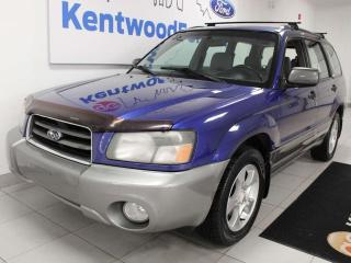 Used 2003 Subaru Forester 2.5XS AWD with heated seats and a royal blue for sale in Edmonton, AB