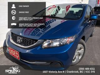 Used 2013 Honda Civic LX ONE OWNER, LOW MILEAGE, PET-FREE, SMOKE-FREE, REMOTE STARTER - $105 BI-WEEKLY - $0 DOWN for sale in Cranbrook, BC