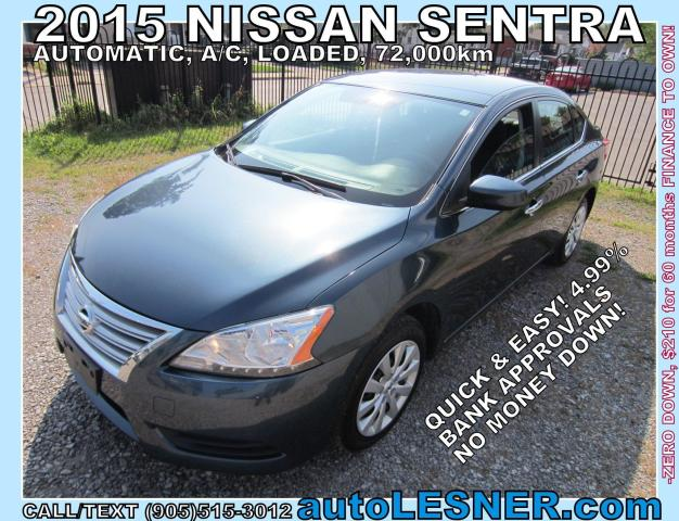 2015 Nissan Sentra -ZERO DOWN, $210 for 60 months FINANCE TO OWN!