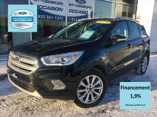 Used 2018 Ford Escape TITANIUM AWD FULL CERTIFIÉ FORD TAUX 1.9 for sale in St-Georges, QC