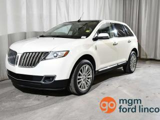 Used 2013 Lincoln MKX AWD | BLIND SPOT MONITORING SYSTEM | PANORAMIC VISTA ROOF | NAVIGATION | HEATED + COOLED FRONT SEATS | HEATED BACK SEATS | BACKUP CAMERA for sale in Red Deer, AB