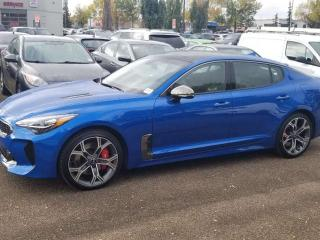 Used 2020 Kia Stinger 3.3L GT LIMITED; AWD, 356 HP, LEATHER, ADAPTIVE CRUISE, HUD, NAV, HEATED/COOLED SEATS, SUNROOF, SMART KEY, ANDROID AUTO/APPLE CARPLAY for sale in Edmonton, AB