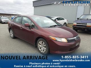 Used 2012 Honda Civic LX+A/C+DEMARREUR+BLUETOOTH+CRUISE+CD/AUX for sale in Sherbrooke, QC