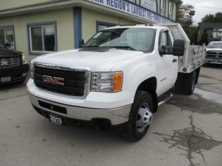 Used 2013 GMC Sierra 3500 1-TON DIESEL SL EDITION 3 PASSENGER 6.6L - DURAMAX.. 4X4.. REGULAR-CAB.. FLAT-DECK BOX.. LEATHER.. CD/AUX INPUT.. TRAILER BRAKE.. for sale in Bradford, ON