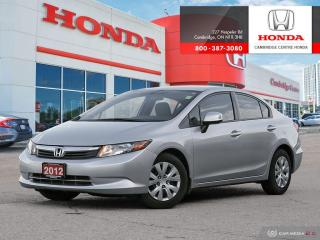 Used 2012 Honda Civic LX STEERING WHEEL MOUNTED CONTROLS | BLUETOOTH | ECON MODE for sale in Cambridge, ON