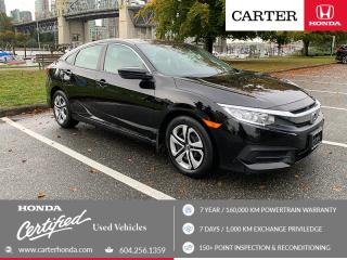 Used 2017 Honda Civic LX CERTIFIED + 7 YEAR/160000KM for sale in Vancouver, BC