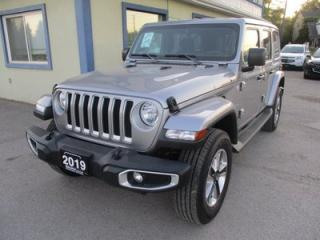 Used 2019 Jeep Wrangler LOADED UNLIMITED-SAHARA EDITION 5 PASSENGER 3.6L - V6.. 4X4.. FACTORY WARRANTY.. REMOVABLE TOP.. NAVIGATION.. BACK-UP CAMERA.. BLUETOOTH.. for sale in Bradford, ON