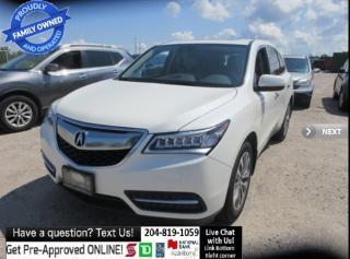 Used 2016 Acura MDX Nav Pkg BACKCAM push start LEATHER, sunroof 1OWNER for sale in Winnipeg, MB