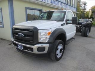 Used 2015 Ford F-550 WORK READY SUPER DUTY EDITION 3 PASSENGER 6.8L - V10.. TWO-WHEEL DRIVE.. REGULAR-CAB.. CHASSIS BOX.. LEATHER.. TOW SUPPORT.. for sale in Uxbridge, ON