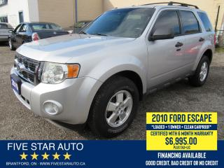 Used 2010 Ford Escape XLT *Clean Carfax + 1 Ownr* Crtfd w/ 6 Mth Wrnty for sale in Brantford, ON
