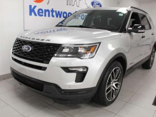 Used 2018 Ford Explorer Sport 4WD ecoboost with NAV, sunroof, heated/cooled power leather seats, heated rear seats, rear climate control for sale in Edmonton, AB
