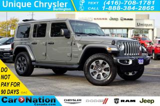 Used 2019 Jeep Wrangler Unlimited SAHARA| SKY POWER SOFT TOP| SAFETYTEC| LED & MORE! for sale in Burlington, ON