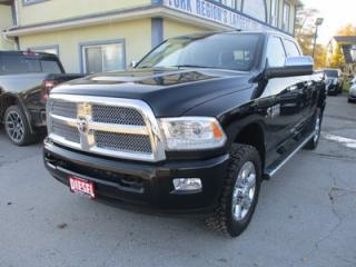 Used 2014 Dodge Ram 2500 3/4 TON LIMITED EDITION 5 PASSENGER 6.7L - CUMMINS DIESEL.. 4X4.. CREW.. SHORTY.. NAVIGATION.. LEATHER.. HEATED/AC SEATS.. BACK-UP CAMERA.. SUNROOF.. for sale in Bradford, ON