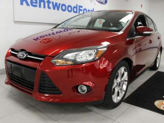 Used 2014 Ford Focus Titanium FWD hatchback with a sunroof, heated power leather seats, push start/stop and a back up cam for sale in Edmonton, AB