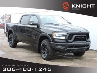 New 2020 RAM 1500 Rebel Black Package Crew Cab 4x4 | 5.7L HEMI V8 | 124L fuel tank | Heated Seats & Steering Wheel for sale in Weyburn, SK
