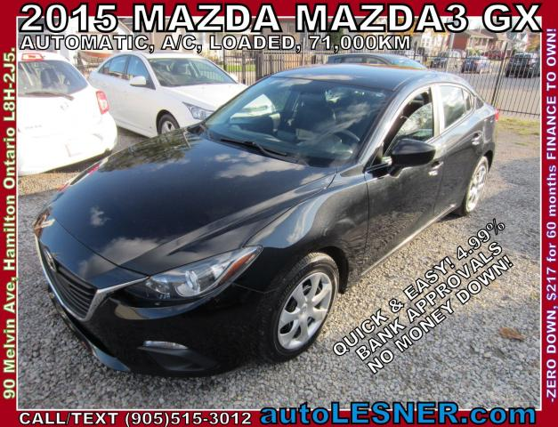 2015 Mazda MAZDA3 -ZERO DOWN, $217 for 60 months FINANCE TO OWN!