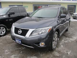 Used 2014 Nissan Pathfinder FOUR-WHEEL DRIVE PLATINUM EDITION 7 PASSENGER 3.5L - V6.. BENCH & 3RD ROW.. NAVIGATION.. DUAL SUNROOF.. DUAL DVD PLAYER.. HEATED/AC SEATS.. for sale in Bradford, ON