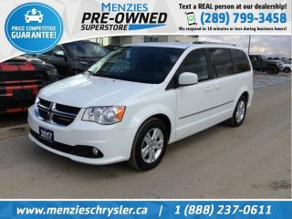 Used 2017 Dodge Grand Caravan Crew, Rear Air/Cond, 3rd Row STO, Clean Carfax for sale in Whitby, ON