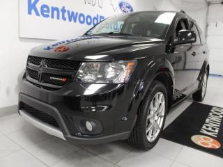 Used 2014 Dodge Journey RT Rallye AWD with a sunroof, heated power leather seats, heated steering wheel, rear DVD entertainment system, rear climate control and a back up cam for sale in Edmonton, AB