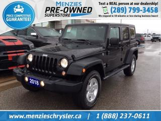 Used 2018 Jeep Wrangler JK Unlimited Sport 4x4, Hardtop, Air, One Owner, Clean Carfax for sale in Whitby, ON