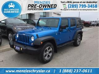 Used 2016 Jeep Wrangler Unlimited Sport 4x4, Hardtop, Auto, ONE Owner, Clean Carfax for sale in Whitby, ON