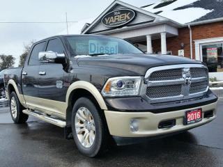 Used 2016 RAM 1500 Longhorn 4x4 Ecodiesel, Leather Heated/Vented Seats, Sunroof, NAV, Back Up Cam/Sensors, Remote Start for sale in Paris, ON