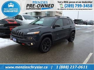 Used 2016 Jeep Cherokee Trailhawk 4x4, Pano Roof, Cam, Bluetooth for sale in Whitby, ON
