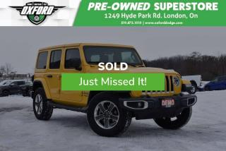 Used 2019 Jeep Wrangler Unlimited Sahara 4x4 - Demo, Manual, Blindspot for sale in London, ON