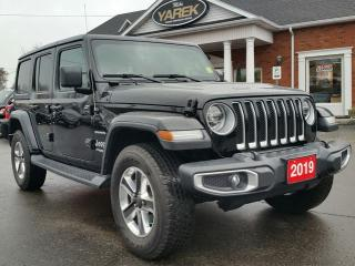 Used 2019 Jeep Wrangler Unlimited Sahara 4x4 Hardtop, Leather Heated Seats/Wheel, NAV, Remote Start Back Up Cam, Alpine System for sale in Paris, ON