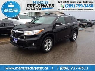 Used 2015 Toyota Highlander Limited AWD, Navi, Pano, Cam, Clean Carfax for sale in Whitby, ON