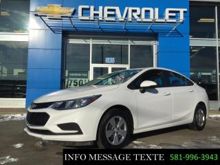 Used 2017 Chevrolet Cruze bas kilometrage, 0% d'interet for sale in Ste-Marie, QC