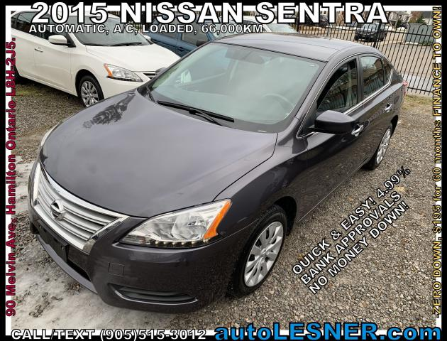 2015 Nissan Sentra -ZERO DOWN, $195 for 60 months FINANCE TO OWN!