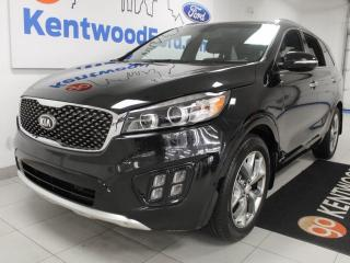 Used 2016 Kia Sorento 2.0L Turbo SX AWD with NAV, sunroof, heated/cooled power leather seats, heated steering wheel, heated rear seats, power liftgate and a back up cam for sale in Edmonton, AB