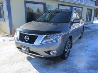 Used 2016 Nissan Pathfinder FAMILY MOVING SL EDITION 7 PASSENGER 3.5L - V6.. 4X4.. BENCH & 3RD ROW.. NAVIGATION.. LEATHER.. HEATED SEATS.. DUAL SUNROOF.. BACK-UP CAMERA.. for sale in Bradford, ON