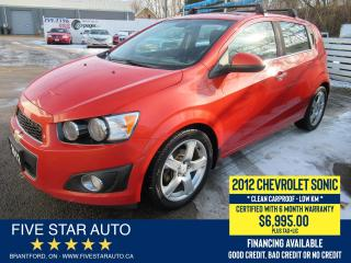 Used 2012 Chevrolet Sonic LT *Clean Carfax* Certified w/ 6 Month Warranty for sale in Brantford, ON