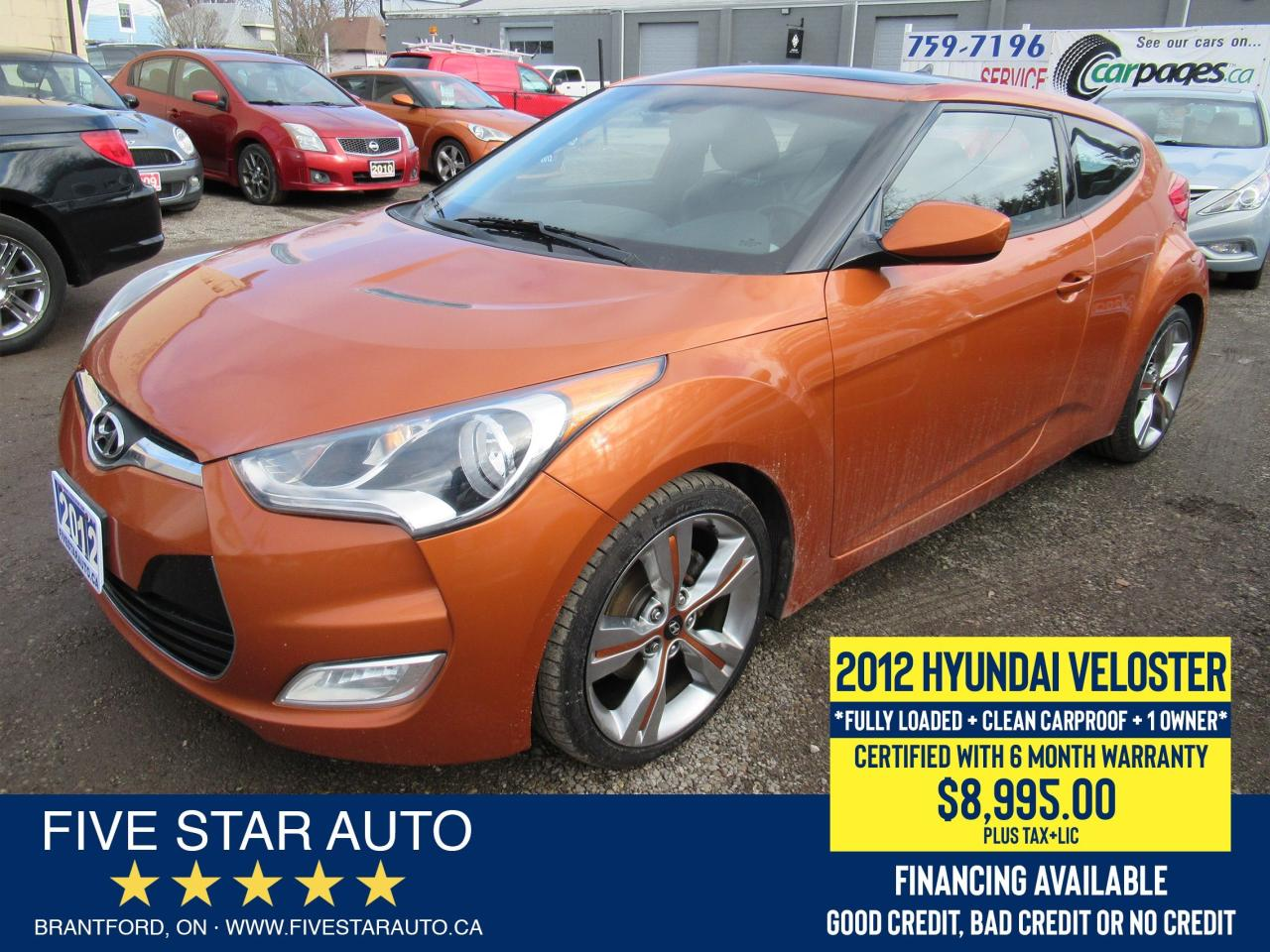 2012 Hyundai Veloster Tech *Clean Carfax* Certified + 6 Month Warranty