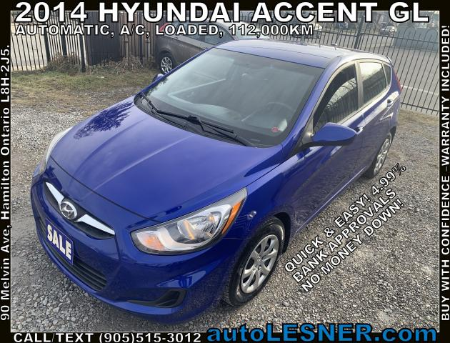 2014 Hyundai Accent -ZERO DOWN, $140 for 60 months FINANCE TO OWN!