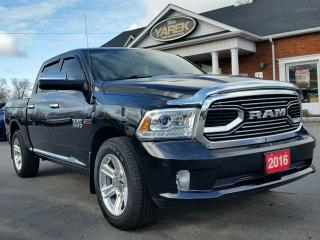 Used 2016 RAM 1500 Limited 4x4 Ecodiesel, RAMBOX, Leather Heated/Vented Seats, NAV, Sunroof, Loaded for sale in Paris, ON