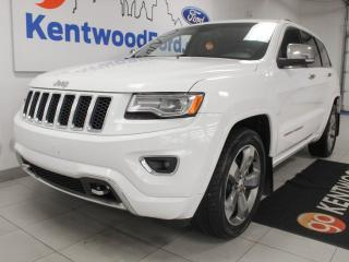 Used 2015 Jeep Grand Cherokee Overland 4x4 with NAV, sunroof, heated/cooled power leather seats, heated steering wheel, selec-terrain, heated rear seats and back up cam for sale in Edmonton, AB