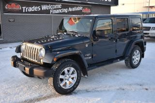 Used 2018 Jeep Wrangler JK Unlimited Sahara HARD AND SOFT TOP!! TOUCH SCREEN!! LEATHER!! HEATED SEATS!! for sale in Saskatoon, SK