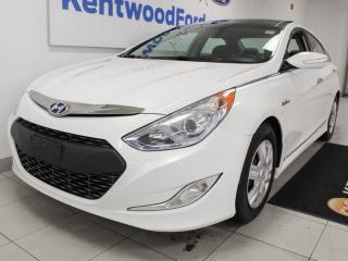 Used 2015 Hyundai Sonata Hybrid Limited hybrid blue drive with sunroof, heated power leather seats, push start/stop and back up cam for sale in Edmonton, AB
