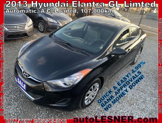 2013 Hyundai Elantra -ZERO DOWN, $149 for 60 months FINANCE TO OWN!